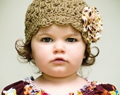 Crochet Hat Flower Girl - Organic Scallop Cap in Camel with Frayed Flower Clip in Autumn Cotton - Size 2
