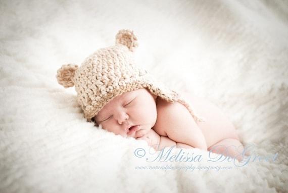 Newborn Photo Prop Hat Children Spring Baby Boy Hat Organic Earflap Hat in Cream and Almond - Size 0