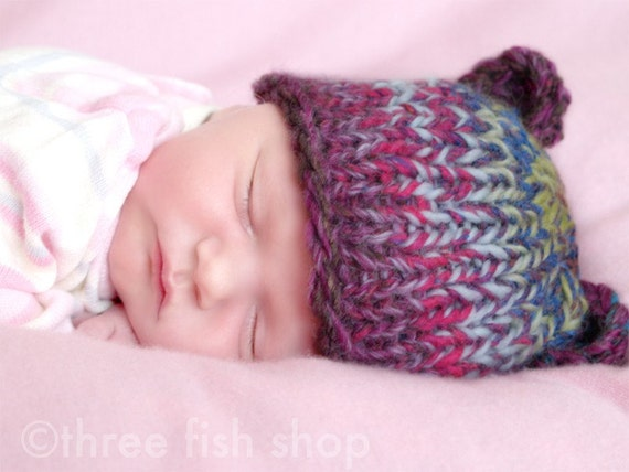 S P R I N G  S A L E  Limited Edition Light Rainbow Chunky Knit Bear Beanie - Size 00 - One of a Kind (4185)