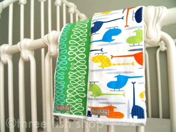 Baby Boy Burp Cloths Baby Burp Cloths 100% Organic Cotton Burp Cloths in Helicopter - One Pair