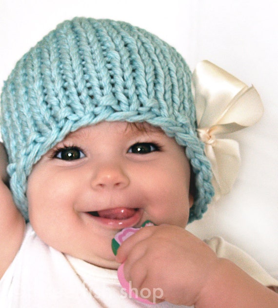 S P R I N G  S A L E  Baby Photo Prop Hat - Merino Wool Chunky Knit Beanie in Seafoam with Ivory Satin Bow - Size 1