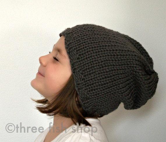Back to School Knit Slouchy Hat Knit Slouch Hat Merino Wool in Steel Grey - One Size Fits Most Children