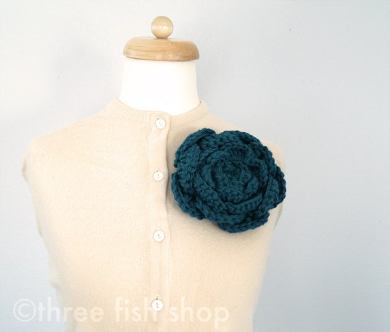 Large Flower Pin Mom Mother's Day - Cabbage Rose Corsage Pin in Merino Wool - Deep Teal