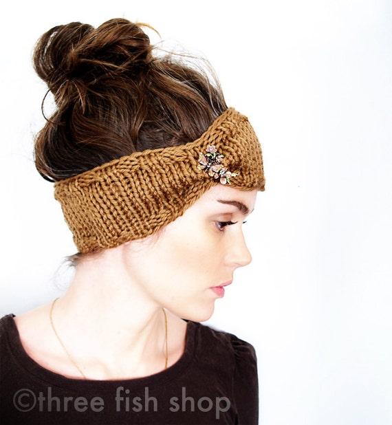 Knit Headband Earwarmer Knit Earwarmer Autumn Fashion - Merino Wool in Honey - Adult and Teen Size