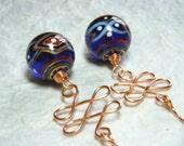 Gypsy Lampwork Copper Wire Wrapped Earrings