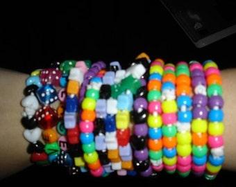 kandi bracelets lot of 10 rave club anime