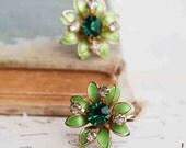 Vintage Green Enamel Rhinestone EARRINGS Emerald Green