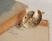 Artist Paint Pallet  Ring Rhinestones Paint Brushes Gold Vintage