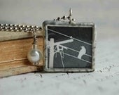 Soldered Glass Charm Necklace - Nighttime Solitude