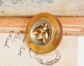 Honey BEE - Amber Bakelite BUTTON Ring