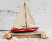 Vintage TOY SAILBOAT Wooden Boat Sailor Nautical Ocean Cottage Decor
