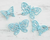 Vintage BUTTERFLIES Light Blue Mint Green Retro Nursery Decor Girl's Room Party Children Shabby Chic Decor