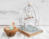 BIRDCAGE White Bird Delicate Wire Sculpture White Wedding Vintage Spring