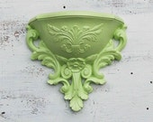 2 Vintage Mint GREEN Wall Sconce Spring Time Decor Wall Vase Plastic Baroque 1970's