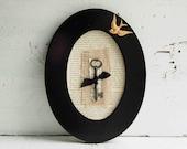 Key to HAPPINESS  Black Frame Vintage Skeleton Key Bird Art