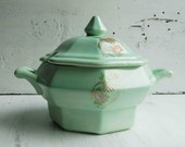 Vintage MINT GREEN Covered Bowl Tureen Coral Flower Gold Bird