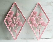 2 Vintage PINK FLOWER Wall Art 1960's Plaques