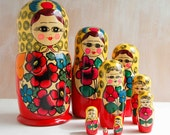 Vintage Collection 9 Matryoshka Dolls Russian Art Nesting Dolls Large
