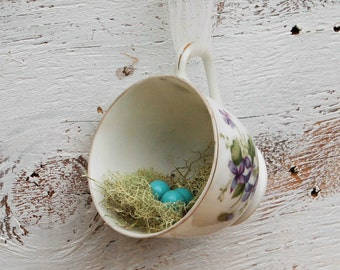 Nest Ornament Bird Nest Teacup Decor Floral Arrangements Hostess Gift Bird Nest Ornament Shabby Chic Kitchen Gift for Her Mother's Day