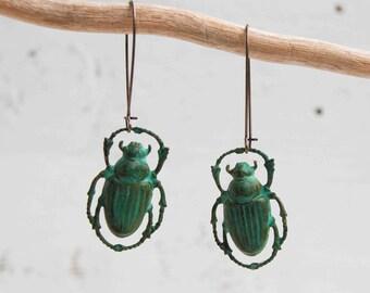 Green Beetle Earrings, Beetle Earrings, Steampunk Beetle Jewelry, Halloween Earrings, Moonrise Kingdom Earrings, Wes Anderson Jewelry