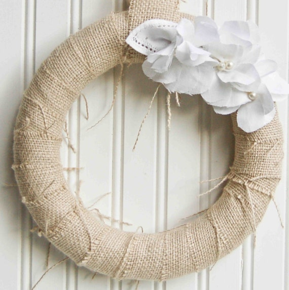 White Linen FLOWER and Burlap Wreath