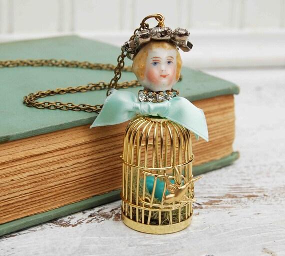 Birdcage Nest Necklace Assemblage Vintage Jewels Porcelain Doll Bird Nest Bird Light Blue Turquoise