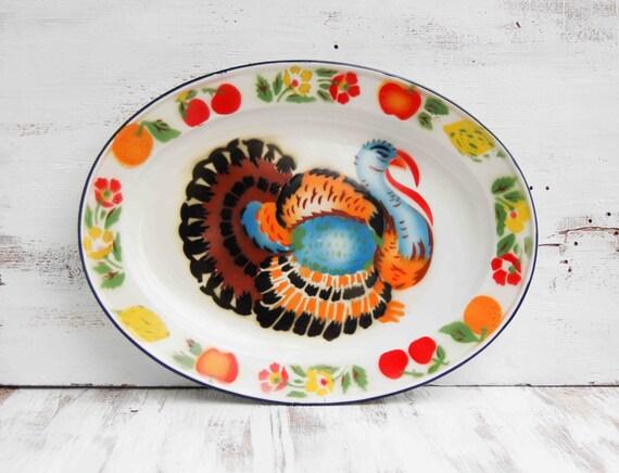 Vintage Enamel Ware TURKEY Platter Holiday Thanksgiving Autumn Party