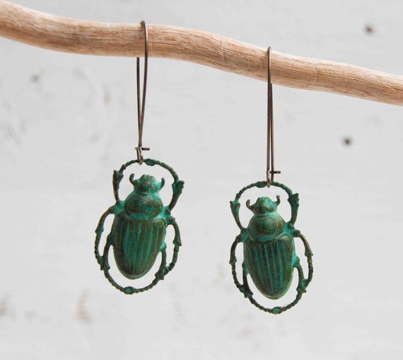 Steam Punk Green Beetle EARRINGS Halloween Nature Study Moonrise Kingdom Jewelry Wes Anderson Inspired Jewelry
