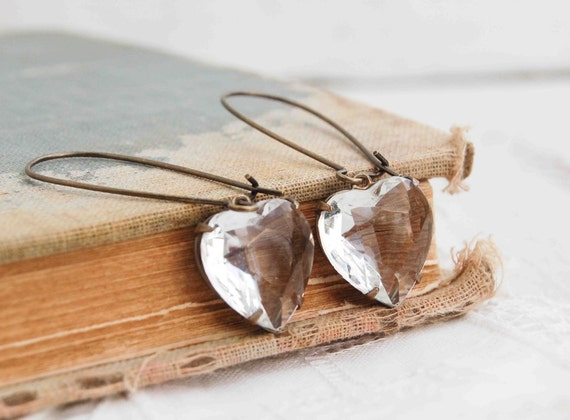 Crystal HEART EARRINGS Vintage Glass Jewel Rustic LOVE  Valentine Earrings Wedding