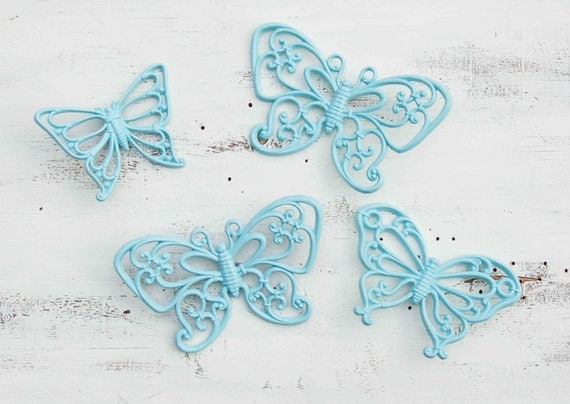 Vintage BUTTERFLIES Light Blue Mint Green Retro Nursery Decor Girl's Room Party Children Shabby Chic Decor