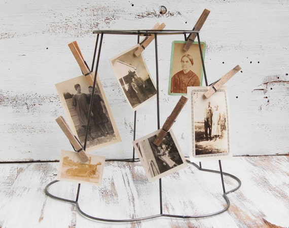 Vintage - Wire Frame Lampshade. Photo Display. Mobile