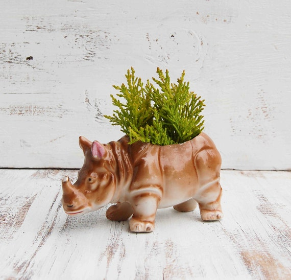 Vintage RHINO Planter Container Vase 1940's Japan