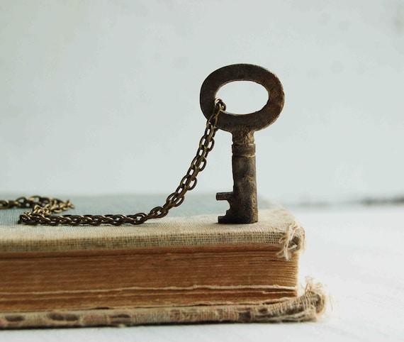 Key to Her Heart  - Tiny Vintage KEY Necklace