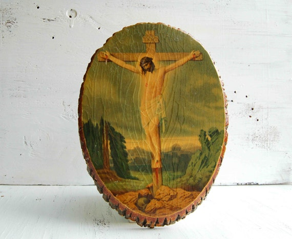 Vintage Religious Crucifix Art Wood Plaque Jesus