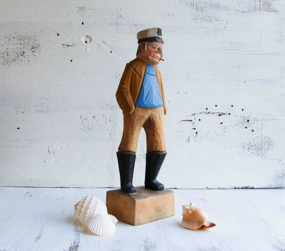 Vintage FISHERMAN Carved Wood Sculpture Nautical Captain Beach Decor