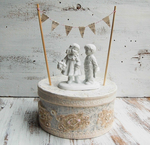 Vintage Wedding Cake Topper Little Bride & Groom Ceramic Country Wedding