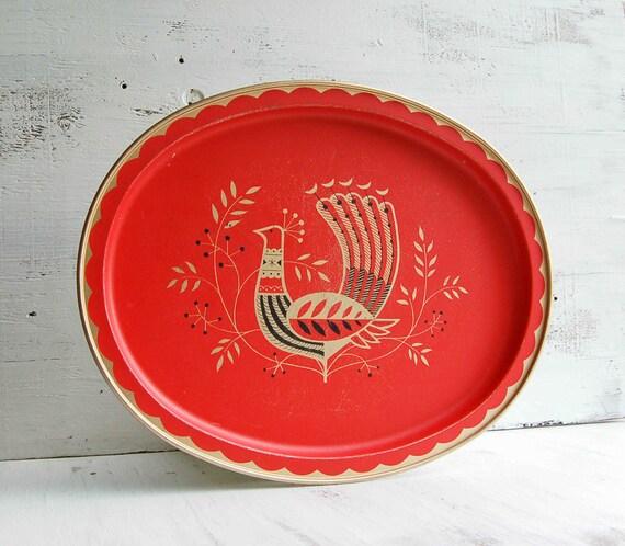 Vintage BIRD Tray Metal Red Scandinavian Retro Chicken