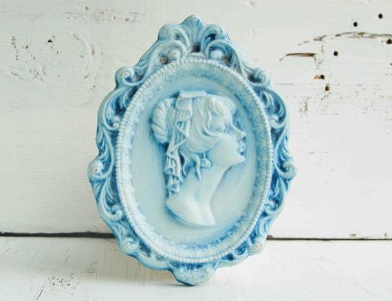Vintage CAMEO Plaque Light Blue Plaster Cameo Silhouette
