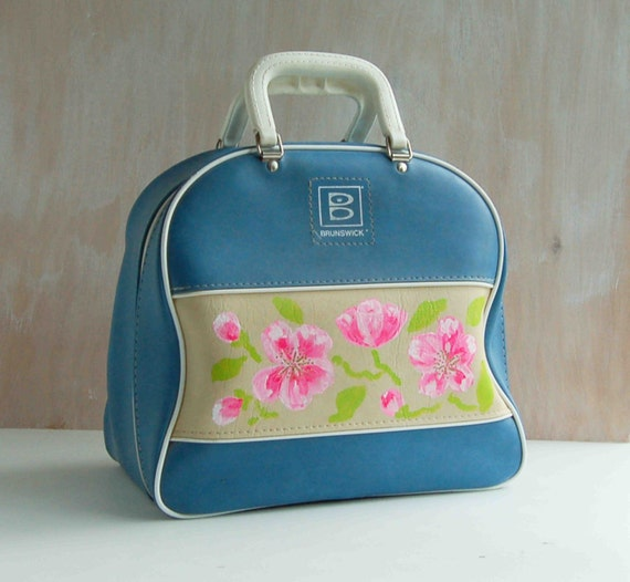 Vintage BOWLING BAG Hand Painted Pink Flowers Light Blue Retro