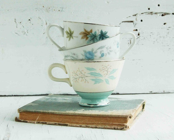 Reserved Listing for Katie - Vintage 3 for TEA -Tea Cups Farm House Blue Turquoise Silver White