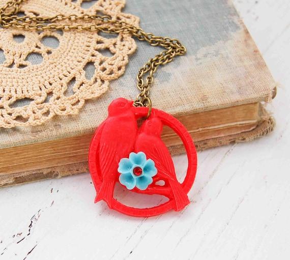 LOVEBIRD Necklace Red Birds Turquoise Flower