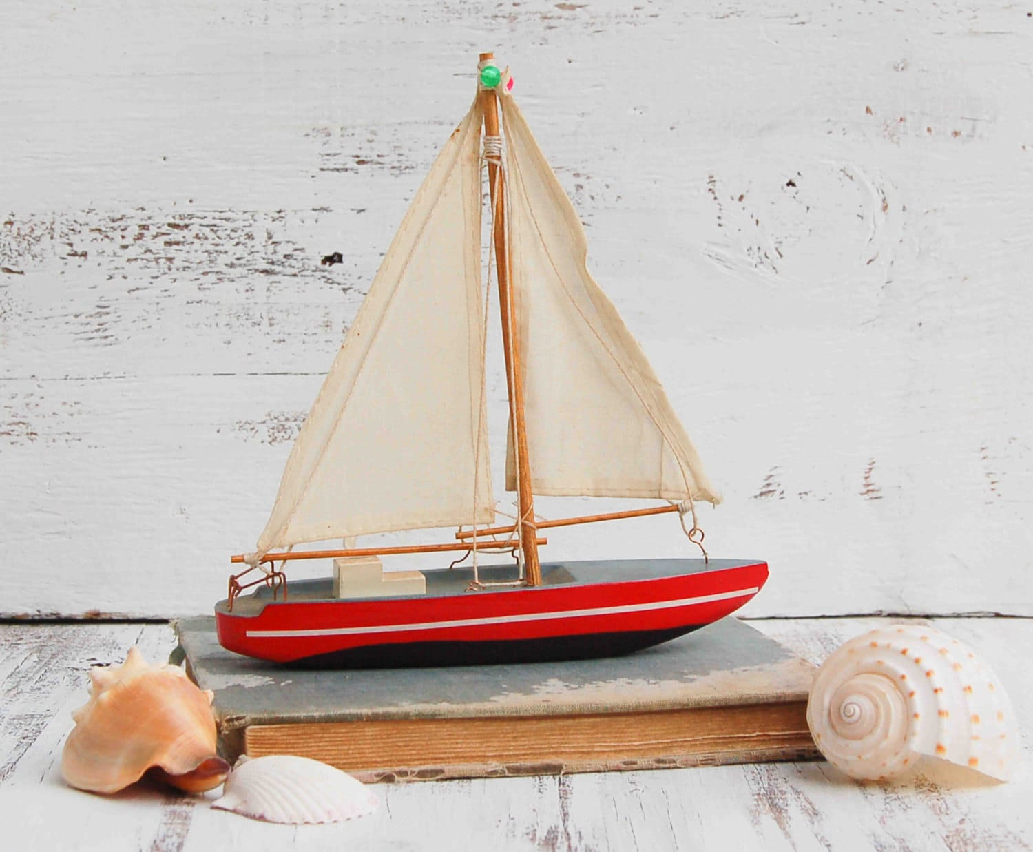 Vintage toy wooden boats
