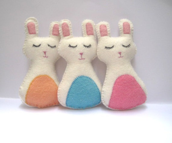 Bunny Rabbit Felt Plush Party Favors - Easter Bunny - Set of 3 - Pastel Pink, Blue & Orange