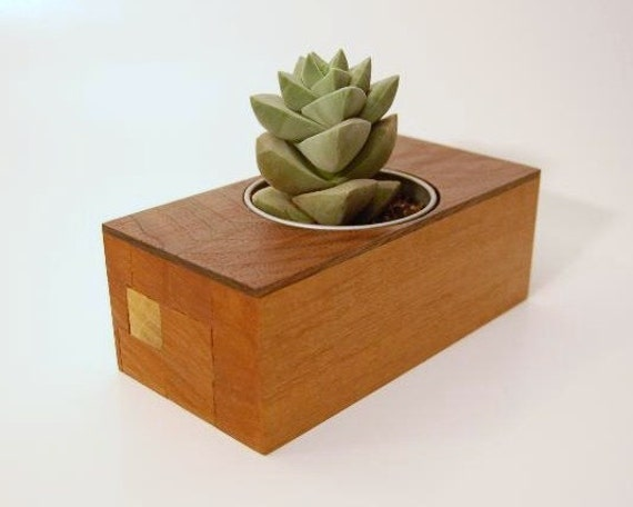 Recycled Wood Desk Planter - Free US Shipping