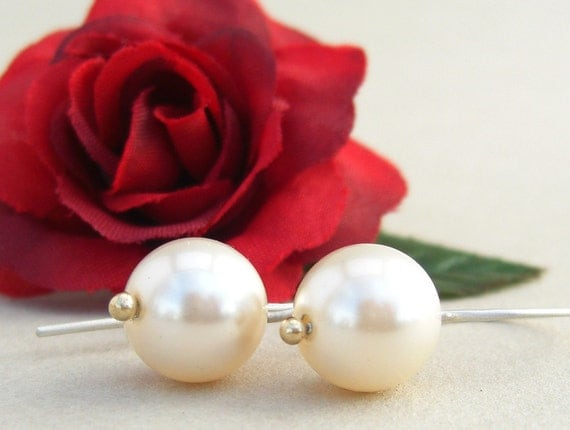 Swarovski pearl earrings Cream rose with sterling silver and gold ball -  Simplicity