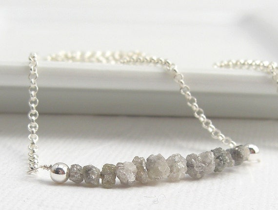 Grey raw Diamonds Necklace with Sterling Silver - handmade