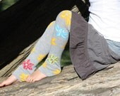 Gray Hibiscus with Flowers Baby Toddler Leg Warmers