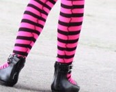 Hot Pink and Black Striped Tights/ Stockings