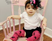 Black Stars on Pink Baby Leg Warmers