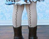 Brown and Beige Girls Tights Stockings